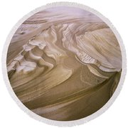 Erosion Reveals Layers Of Sand Round Beach Towel