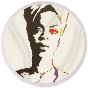 Round Beach Towel featuring the painting Erykah Badu by Stormm Bradshaw