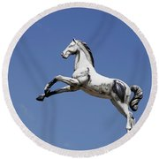 Escaped Carousel Horse Round Beach Towel