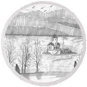 Esopus Lighthouse Round Beach Towel