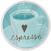 Espresso Love In Light Blue Round Beach Towel