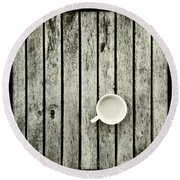 Espresso On A Wooden Table Round Beach Towel