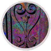 Etched Love Round Beach Towel