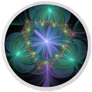 Ethereal Flower On Vacation Round Beach Towel
