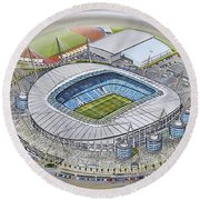 Etihad Stadium - Manchester City Round Beach Towel