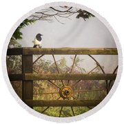 Eurasian Magpie In Morning Mist Round Beach Towel