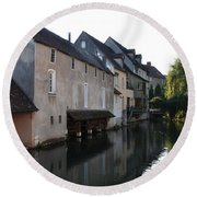 Eure River And Old Fulling Mills In Chartres Round Beach Towel