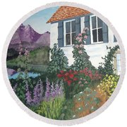 Round Beach Towel featuring the painting European Flower Garden by Norm Starks