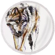 European Wolf Round Beach Towel by Mark Adlington