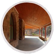 Round Beach Towel featuring the photograph Evans Porch by Bill Gabbert