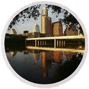 Evening Along The River Round Beach Towel