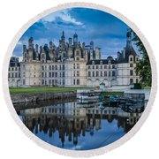 Evening At Chateau Chambord Round Beach Towel