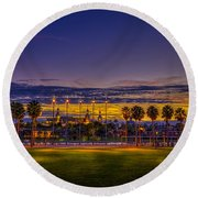 Evening At The Park Round Beach Towel