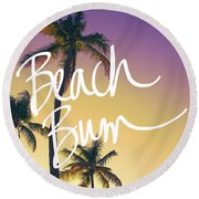 Evening Beach Bum Round Beach Towel by Emily Navas