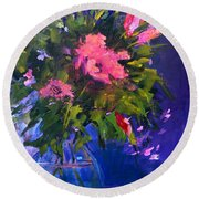 Evening Blooms Round Beach Towel