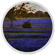 Round Beach Towel featuring the photograph Evening Blues by John Glass