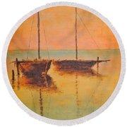 Evening Boats Round Beach Towel