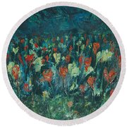 Round Beach Towel featuring the painting Evening Buds by Mini Arora
