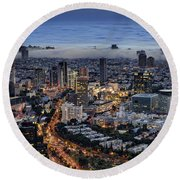 Evening City Lights Round Beach Towel