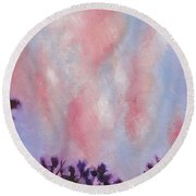 Round Beach Towel featuring the painting Evening Clouds by Jason Williamson