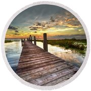Evening Dock Round Beach Towel by Debra and Dave Vanderlaan