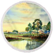 Evening Falls Round Beach Towel