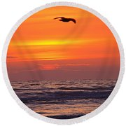Evening Flight Round Beach Towel