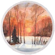 The Evening Glow Round Beach Towel by Carol Wisniewski