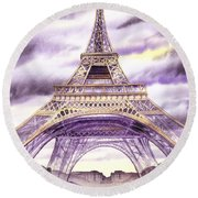 Evening In Paris A Walk To The Eiffel Tower Round Beach Towel