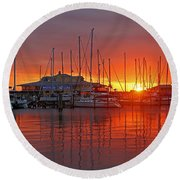 Round Beach Towel featuring the photograph Evening Light by HH Photography of Florida