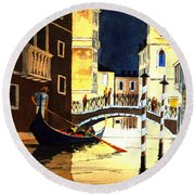 Round Beach Towel featuring the painting Evening Lights - Venice by Bill Holkham