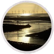 Evening Low Tide 2 Round Beach Towel