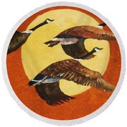 Soaring Migration Round Beach Towel
