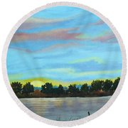 Evening On Ema River Round Beach Towel