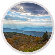 Evening On The Blue Ridge Parkway Round Beach Towel
