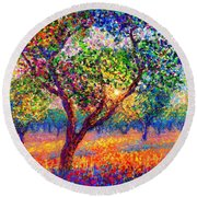 Evening Poppies Round Beach Towel