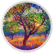 Round Beach Towel featuring the painting Evening Poppies by Jane Small