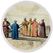 Evening Prayer Among The Kalmuks, Using Round Beach Towel by Francois Fortune Antoine Ferogio