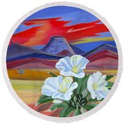 Round Beach Towel featuring the painting Evening Primrose by Phyllis Kaltenbach