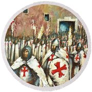 Templar Procession  Round Beach Towel