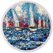 Evening Sailing Round Beach Towel