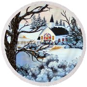 Round Beach Towel featuring the painting Evening Services by Barbara Griffin