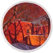Evening Shadows On A Round Taos House Round Beach Towel by Art James West