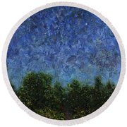 Round Beach Towel featuring the painting Evening Star - Square by James W Johnson