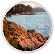 Evening Sun By The Waterfront Round Beach Towel