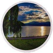 Evening Sun Kisses Lake One Last Time Round Beach Towel