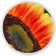 Evening Sun Sunflower Round Beach Towel