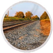 Evening Tracks Round Beach Towel