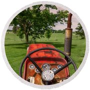 Ever Drive A Tractor Round Beach Towel