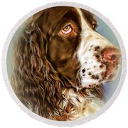 Ever Watchful English Springer Spaniel Round Beach Towel by Wallaroo Images